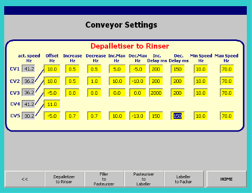 Conveyor Control settings